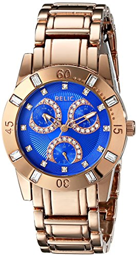 Relic Women's ZR15750 Beth Rose Gold-Tone Bracelet Watch with Cobalt Blue Dial