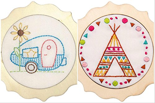 2 Item Bundle - Camper and Tee Pee: My 1st Stitch Mini Stamped Embroidery Kits (each 4 Round)