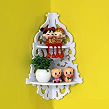 2 Tier Floating Shelf Wall Mounted Corner Shelf,Pastoral Hollow Decor Display Rack-Wood-Plastic Plate