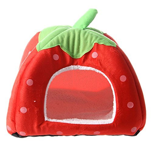 TOOGOO(R) Cute Soft Sponge Strawberry Small Cotton Pet Cat Dog House Bed Warm Cushion,red,Size:L