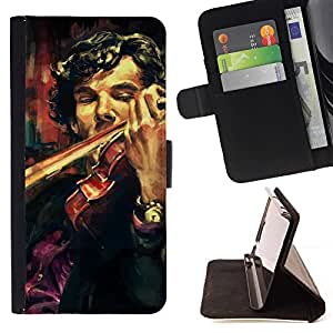 Momo Phone Case / Flip Funda de Cuero Case Cover - Holmes violín Pintura;;;;;;;; - LG G4c Curve H522Y (G4 MINI), NOT FOR LG G4