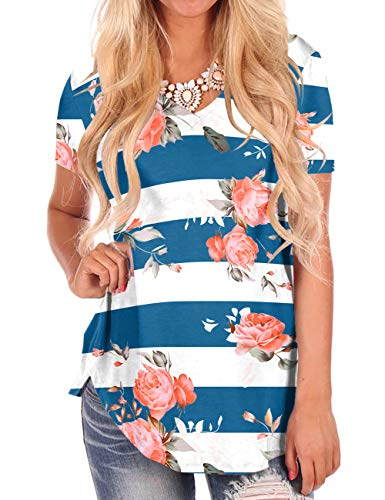 Plus Size Tunics for Women Striped Short Sleeve Tops Summer Floral T Shirt White