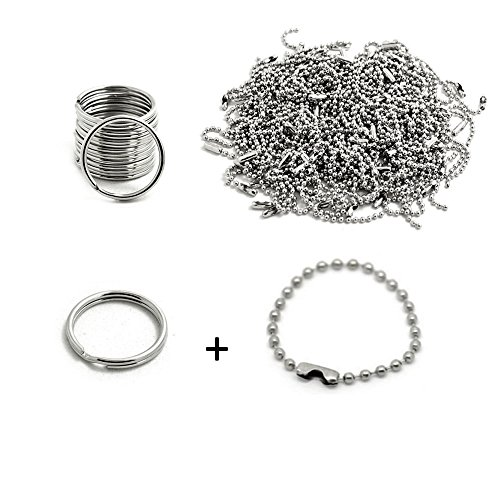BronaGrand 200pcs 100mm Long Bead Connector Clasp 2.4 mm Diameter Ball Chains Keychain And Key Rings