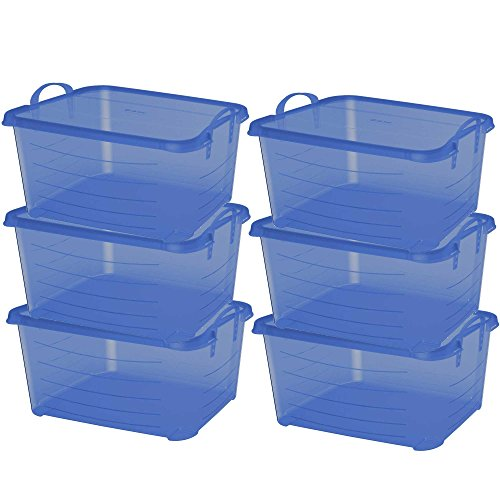 Life Story Blue Stackable Closet & Storage Box 55 Quart Containers, (6 Pack) by Life Story