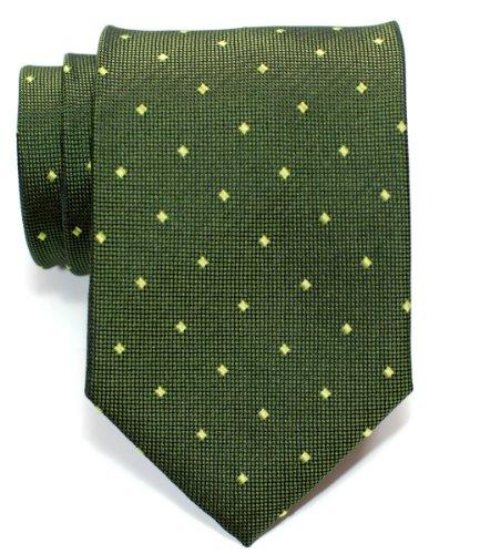 Retreez Retro Square Dots Woven Men's Tie - Army Green