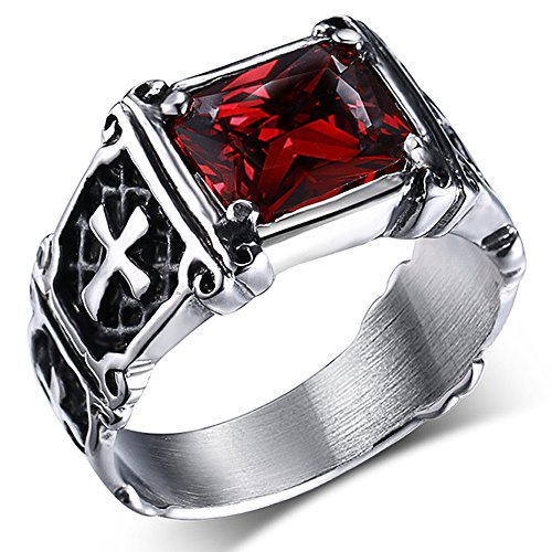 (Men's Vintage Religion Pinky Blood Red Crystal Stainless Steel Cross Ring Band Gothic Biker (Size 7))