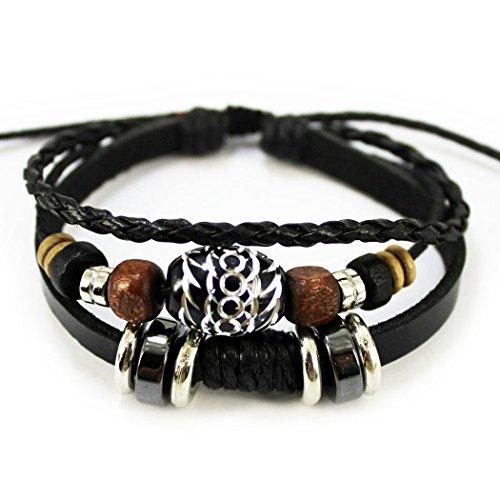 More Fun Oval Black Beads Pure Manual Multi-layer Leather Wrap Bracelet Adjustable