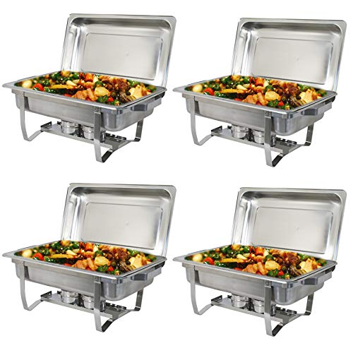 SUPER DEAL Stainless Steel Chafing Dish Full Size Chafer Dish Beffet Set 4 Pack of 8 Quart For Catering Buffet Warmer Tray Kitchen Party Dining