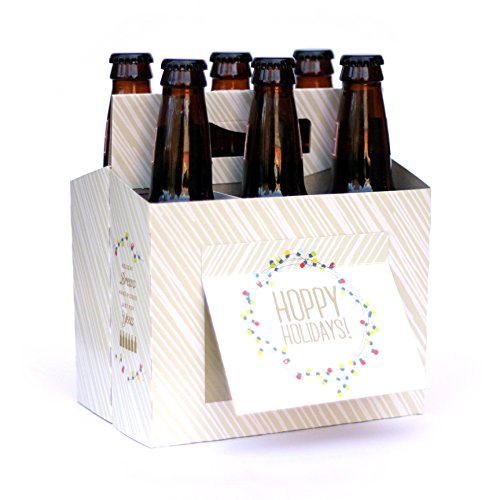 Holiday BEER GIFTS - 6 Pack Beer Holder Greeting Card (Set of 4) in Festive Holiday Lights design - Awesome for use as Christmas Party Hostess Gift, Company Holiday Party Gifts, Holiday Gift Baskets (Party Gift Basket)