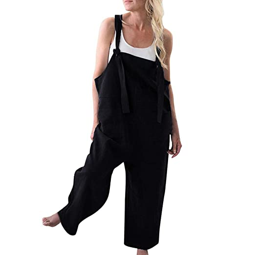 2f4d8342312 Women Strappy Jumpsuits Bib Baggy Overalls Harem Pants Wide Leg Low Crotch  Loose Suspender Jumpsuit Black