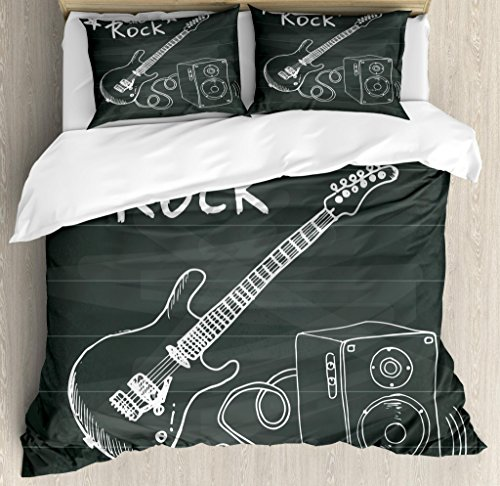 Ambesonne Guitar Duvet Cover Set Queen Size, Love The Rock Music Themed Sketch Art Sound Box and Text on Chalkboard, Decorative 3 Piece Bedding Set with 2 Pillow Shams, Charcoal White