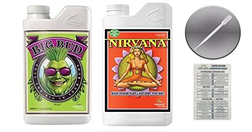 Advanced Nutrients Big Bud and Nirvana with Conversion Chart and 3ml Pipette-1 Liter by Advanced Nutrients