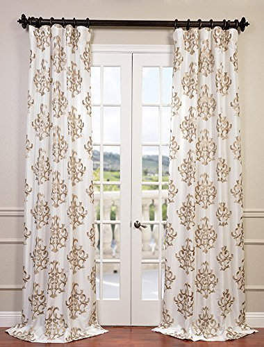 "HPD Half Price Drapes EFSCH-14087-108 Embroidered Faux Silk Taffeta Curtain, 50 x 108, Ankara White - Sold Per Panel 51% Polyester 49% Nylon | Lined & Interlined 3"" Pole Pocket with Hook Belt - living-room-soft-furnishings, living-room, draperies-curtains-shades - 51Fho8Ii5tL -"