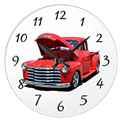 Modern Wooden Clock for Kids Classic Red Car Pickup Truck Wall Clock Art Decorative for Kids Room 12 Inch