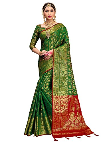 Green Silk Saree - ELINA FASHION Sarees for Women Patola Art Silk Woven Work Saree l Indian Wedding Ethnic Sari with Blouse Piece (Green 1)