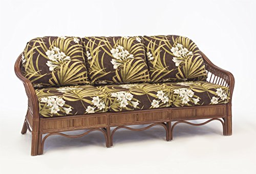 South Sea Rattan Bermuda Sofa in Pecan Finish, Grasmere Cocoa