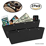 2 Pack Car Seat Gap Filler By Lebogner - Premium PU Full Leather Seat Console Organizer, Car Pocket Organizer, Car Interior Accessories, Car Seat Side Drop Caddy Catcher