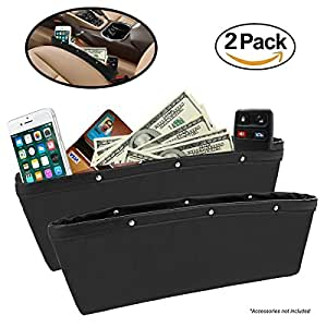 2 pack car seat gap filler by lebogner premium pu full leather seat console organizer car. Black Bedroom Furniture Sets. Home Design Ideas