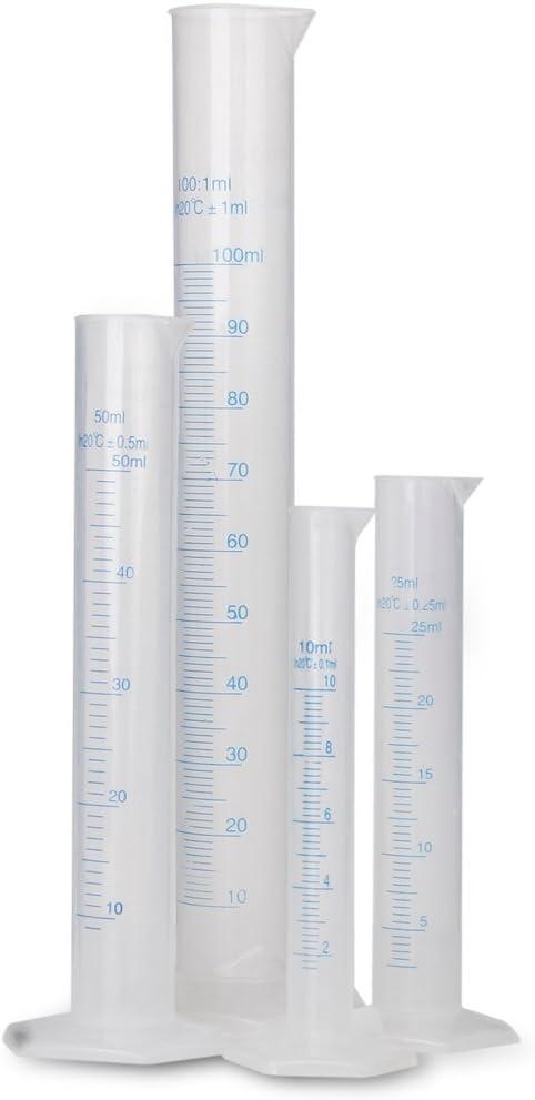 4 Piezas Cilindros Graduados Probeta de Plástico