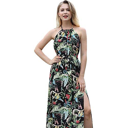 Impresión De Largo De Parte Vestido Vestido Negro Mujeres Playa XINGMU qCnB8w50