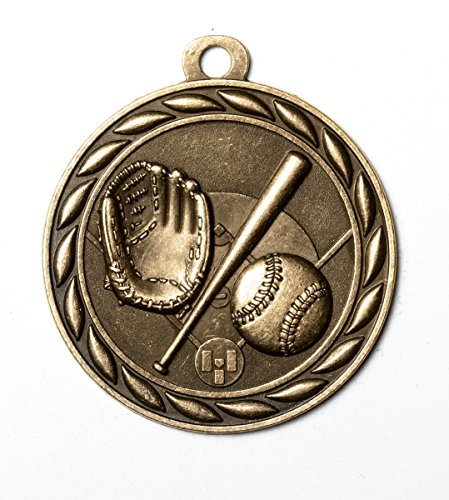 2 Inch Baseball Medal in Antique Brass Attached to Ribbon - Pack of - Antique Medal