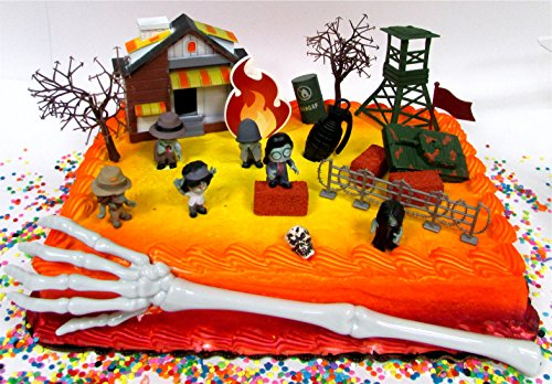 Walking Dead Inspired End of the World ZOMBIES are Coming Birthday Cake Topper Set Featuring Zombie Figures and Decorative Themed Accessories -