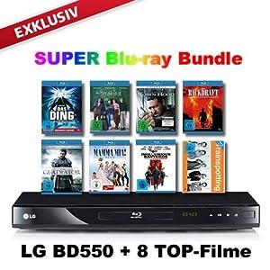 51FhpFv9IIL. SL500 AA300  [Amazon] LG Blu ray Player mit USB, DivX, Full HD, BD Live + 8 Blu ray Filme, inkl. Versand nur 119,99€