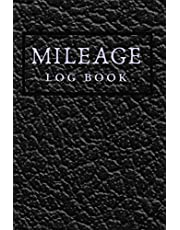 MILEAGE LOG BOOK: Black Leather 6x9 Cover | Track miles driven for work vs personal use for taxes