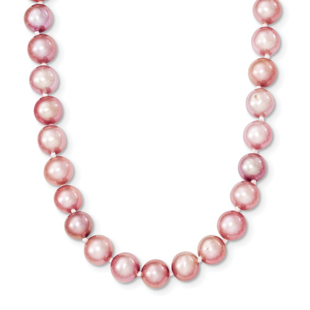 Sterling Silver 18in 6-7mm Purple Freshwater Cultured Pearl Necklace.