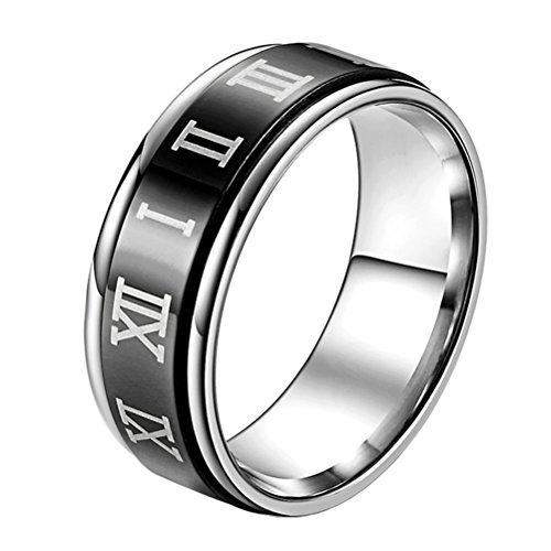 PAURO Unisex Stainless Steel Roman Numerals Spin Worry Ring for Anxiety 8MM Black Size ()