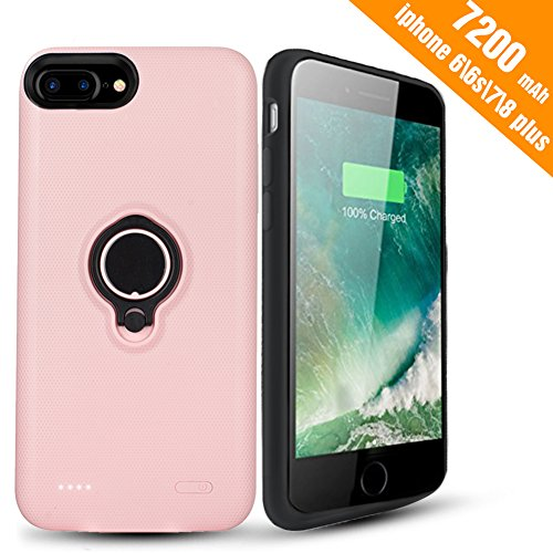 iPhone 7 Plus Battery Case - Hathcack 7200mAh Portable Battery Charging Case for iPhone 8 Plus/7 Plus/6 6s Plus Extended Battery Pack/Lightning Cable Input Mode Support Magnetic Car Holder-Pink