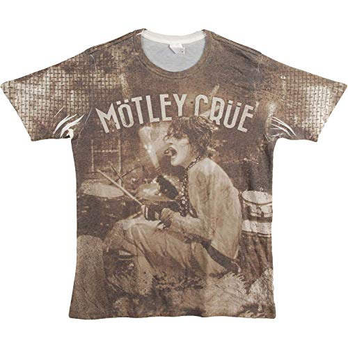 Motley Crue Men's Tommy Lee Sublimation T-Shirt X-Large White