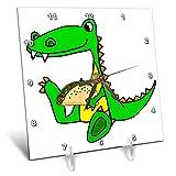3dRose All Smiles Art - Animals - Cute Funny Unique Sitting Baby Alligator Eating Taco Cartoon - 6x6 Desk Clock (dc_291141_1)