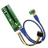 Baile PCI-E Express 1x to16x Extender Riser Board Card Adapter SATA USB 3.0 15Pin-4Pin Cable