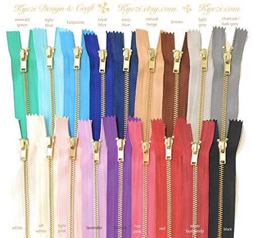 10 pcs Brass Gold Metal Teeth Zippers - Fast Shipping [Kyezi Design & Craft] (Mixed Colors - Chosen by Random, 12 inch)