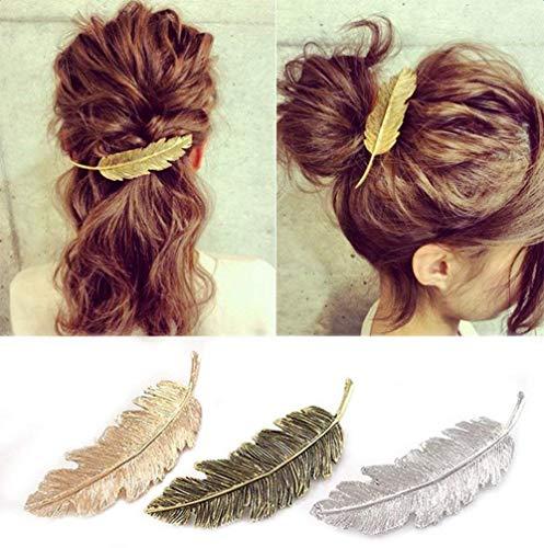 CINEEN 3 Farben Metall Feder Blatt Haarklammern Vintage Blatt förmigen Haarspangen Haarschmuck Kopfschmuck Haar Zubehör …