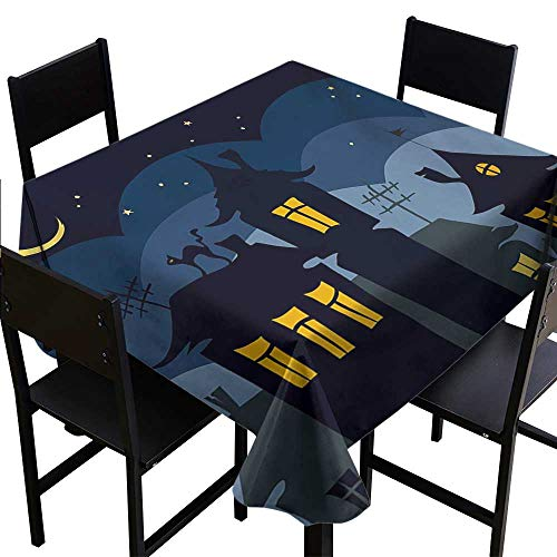 Loruoaine Tablecloth Plastic Halloween,Old Town with Cat on The Roof Night Sky Moon and Stars Houses Cartoon Art,Black Yellow Blue 70