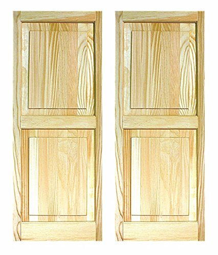 LTL Home Products SHP55 Exterior Solid Wood Raised Panel Window Shutters, 15 x 55 Inches, Unfinished Pine by LTL Home Products