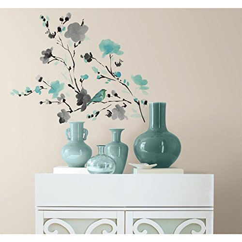 RoomMates Blossom Watercolor Bird Branch Peel And Stick Wall Decals - RMK2687SCS (Vinyl Flowers)