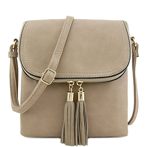 Flap Top Double Compartment Crossbody Bag with Tassel Accent Light Taupe Double Flap Handbag