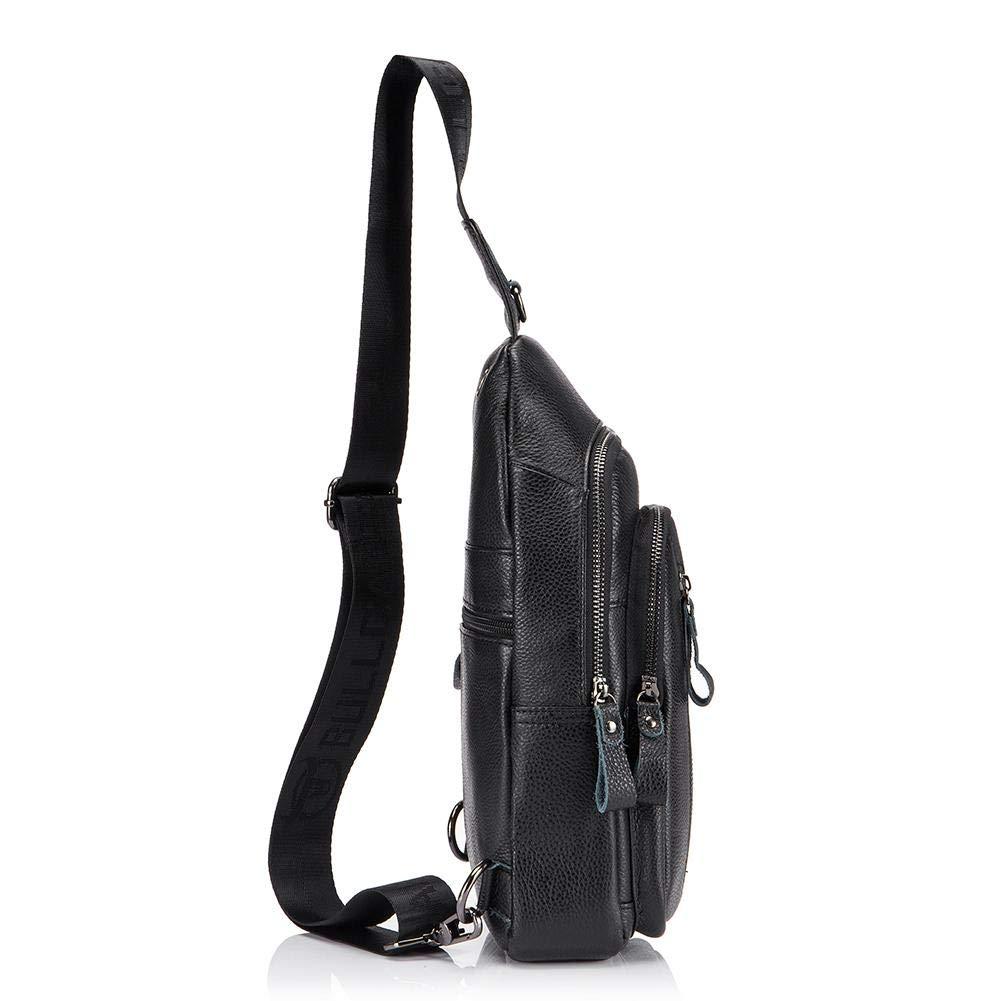 Tuankay Bull Captain Men Shoulder Bags Sport Crossbody Bag Waist Chest Pack Black