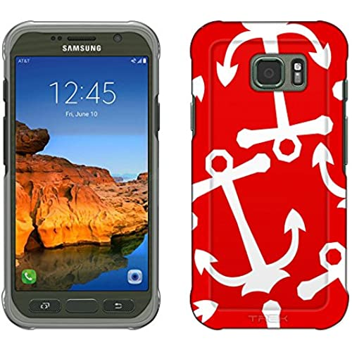 Samsung Galaxy S7 Active Case, Snap On Cover by Trek Anchors White on Red Slim Case Sales
