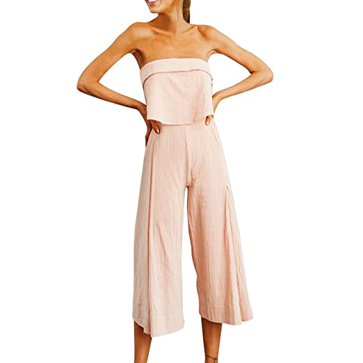 2006ee37b265 Amazon.com  Sunyastor Jumpsuit for Women Lady Tube Crop Off Shoulder Summer  Playsuits Rompers Holiday Long Leg Pants Trousers with Pocket  Clothing