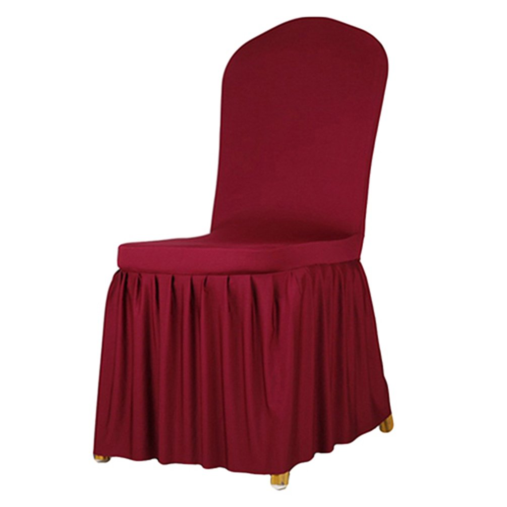 Floralby Solid Color Chair Covers, Ruffle Slipcovers Chair Covers for Wedding Party Banquet Hotel