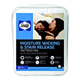Sealy Moisture Wicking Stain Release Mattress Pad, Full, White