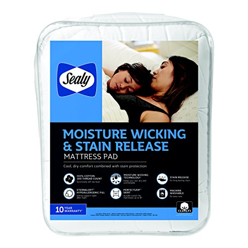 (Sealy Moisture Wicking and Stain Release Mattress Pad, Full, White)
