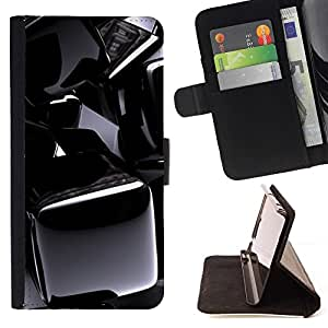 DEVIL CASE - FOR Sony Xperia m55w Z3 Compact Mini - Black Chrome Pattern - Style PU Leather Case Wallet Flip Stand Flap Closure Cover