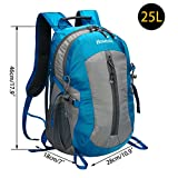 Homdox 25L Unisex Outdoor Sports Backpack with Lifesaving Whistle and Waterproof Covers, Perfect for Hiking Climbing Camping Travelling (Lake Blue)