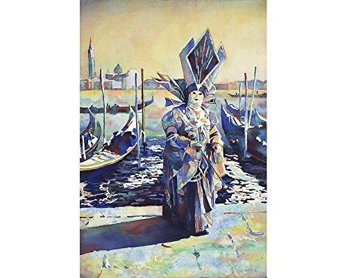 Watercolor painting of masked person during Carnival in Venice, Italy. Venice painting Italy artwork home decor Carnival wall art watercolor (print)]()