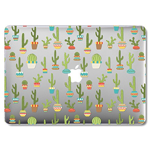 GMYLE MacBook Air 13 Inch Case A1466 A1369 Old Version 2010 2017, Hard Shell Plastic Clear Crystal Glossy Snap On Cover (Cactus Plants)